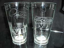 2014 SUPERBOWL 48 SEATTLE SEAHAWKS ETCHED LOGO 16 oz PINT GLASSES (2) NEW