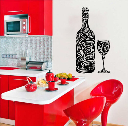 PROSECCO WINE BOTTLE WITH GLASS KITCHEN DINING LIVING ROOM WALL ART STICKER
