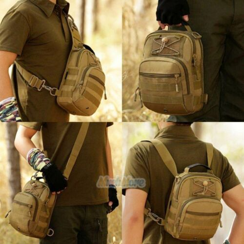 Men/'s Leather Chest Sling Packs Shoulder Cross Body Bag Cycle Day Packs Satchel