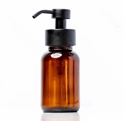 8oz Amber Glass with Matte Black Steel Pump Foaming Soap Bottle Dispenser
