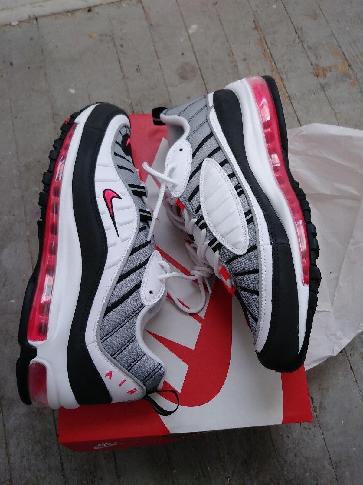 b9d233f82e Nike Air Max 98 White Solar Red Dust AH6799 104 Mens 9.5 & 10.5 Womens 11