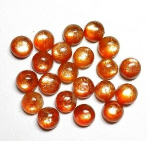 Wholesale-Lot-Natural-Sunstone-5X5-mm-Round-Cabochon-Loose-Gemstone-ED73