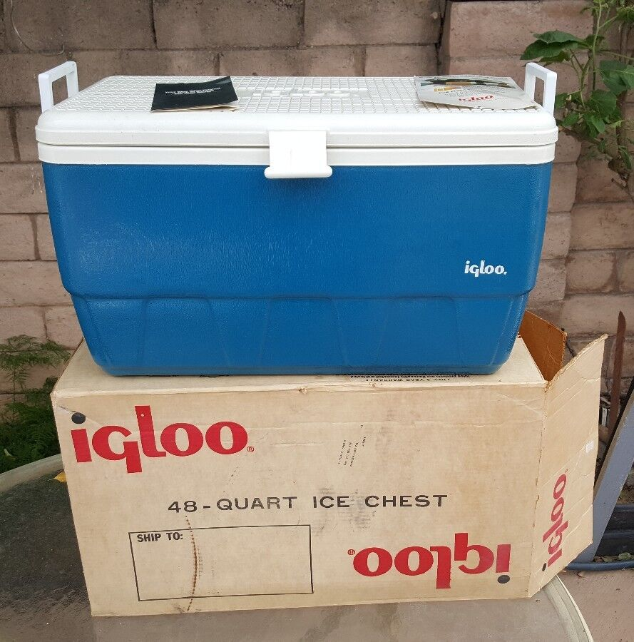 Vintage Blau Igloo Legend Cooler Ice Chest With 48 qt With Chest Extra Org Box 80ef0a