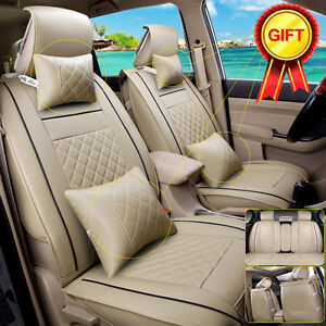 Size-M-PU-Leather-5-Seats-Car-Seat-Cover-Cushion-Front-Rear-W-Neck-Lumbar-Pillow