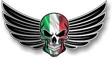 WINGED Biker SKULL wings Italy Italian il Tricolore Flag car bike sticker Decal