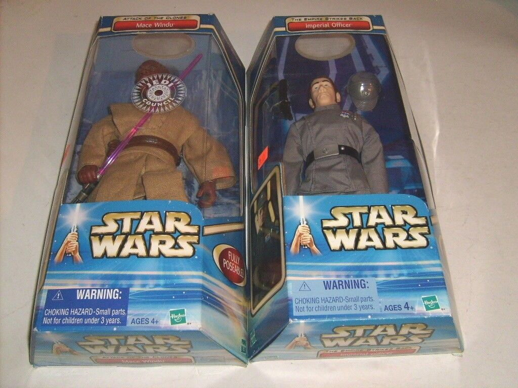 STAR WARS MACE WINDU & IMPERIAL OFFICER HOT CLONE WARS 12  FIGURE TOY LOT
