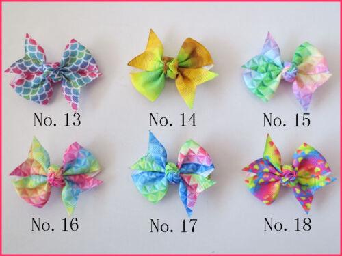 """100 BLESSING Girl 2.5/""""  Diamond Rainbow Wing Hair Bow Clip Unicorn Clover Fruit"""