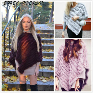 Brand-New-Real-Farm-Rabbit-Fur-Knitted-Wrap-Women-Chic-Shawls-Cape-Poncho-Scarf