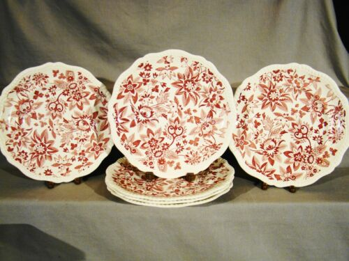 "Antique Copeland Spode Red Transfer Flowers Pattern Dinner Plates 10/"" c1925-1926"