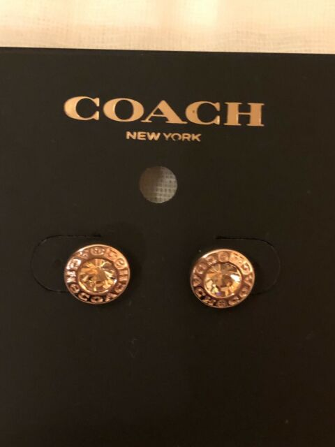 NWT Authentic Coach Rose Gold Open circle stone stud Earrins.