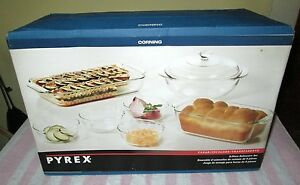 NEW Corning Pyrex 8 Pc Bakeware Set w Covered Casserole, Oblong & Loaf Dishes +