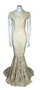 Baylis /& Knight Ivory Sweetheart Low Cut Lace FISHTAIL Long Wedding Wiggle Dress