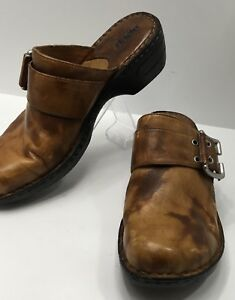 BOC-Born-Size-10-M-Clogs-Womens-Shoes-Brown-Leather-Tan-Buckle-Slip-On