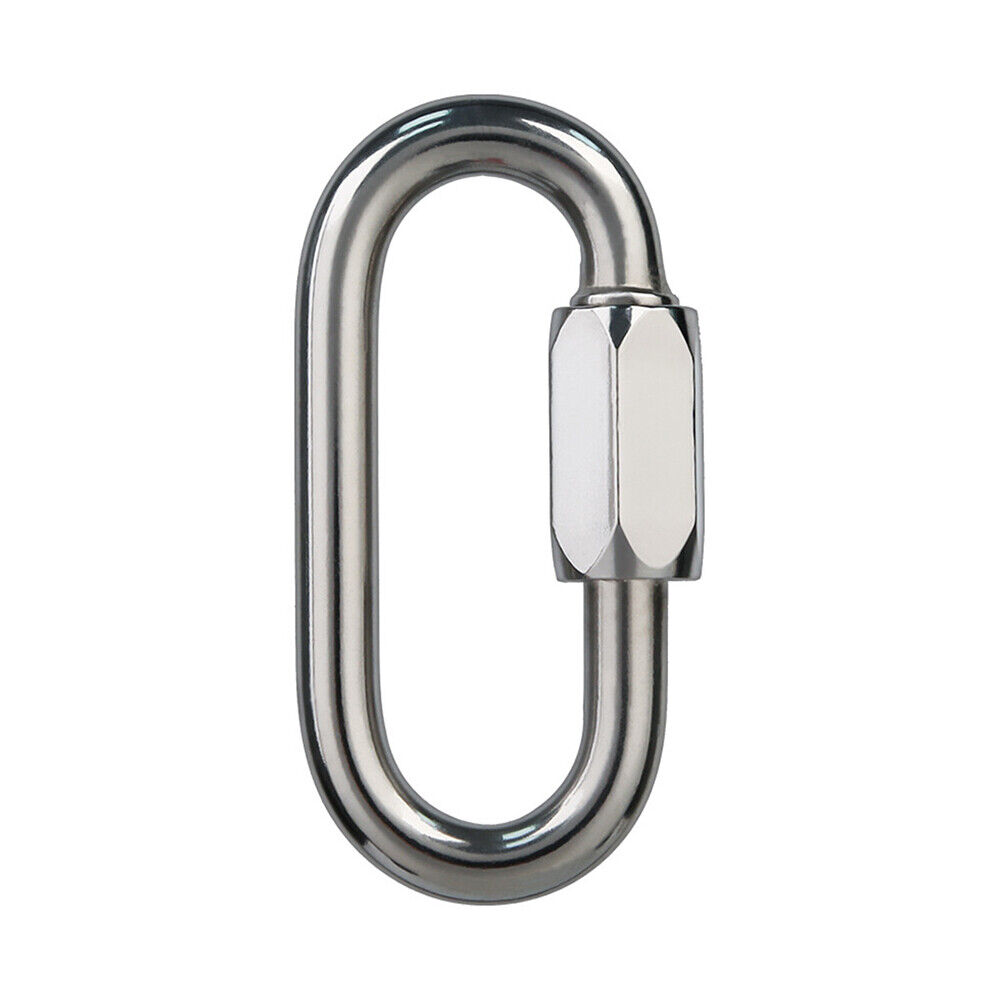 24PCS 4mm Stainless Steel Chain Connector Oval Locking Carabiner Clip Threaded Quick Link 600 Lbs Max Load