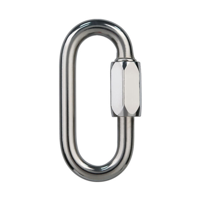 BeeChamp Stainless Steel Screw Locking Oval Quick Link Carabiner 3 Pack