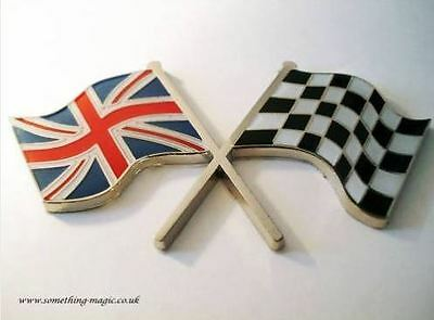 Enamel Chrome Union Jack FLAG & chequered flag crossing Car Badge MG