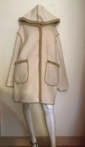 New Fur York W Blond Jones Hood Coat Faux Reversible Faux Suede ~ Look Shearling pwRdxnqx