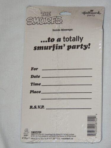 HALLMARK  PARTY  SUPPLIES ~~~THE SMURFS  ~~ 8-INVITATIONS