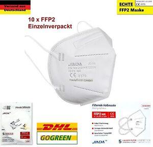 10x FFP2 Atemschutzmaske Mundschutz 5 lagig CE zertifiziert Maske Mund  JIADA