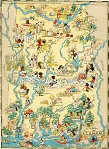 photo relating to Printable Map of Alabama titled Canvas Duplicate Classic Pictorial Map of Alabama Print