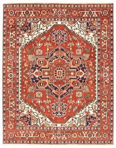 Hand-knotted-Carpet-7-039-11-034-x-10-039-0-034-Bordered-Geometric-Traditional-Wool-Rug