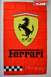 Ferrari Flag Banner 3x5 ft Italy Car Manufacturer Enzo Signature Vertical Red
