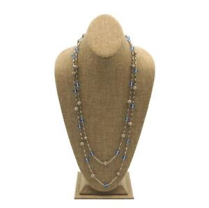 Vintage Silver Tone Filigree And Blue Glass Bead Fashion Necklace  58 Inch