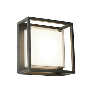 Details About Searchlight Ohio Led Square Dark Grey Wall Bracket Flush Light Outdoor Lighting