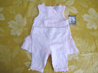 Piper & Posie Baby Girl Pink Sleeveless Capri Outfit W/headband Sz 6 Months