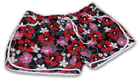 BLACK RED LADIES FLORAL FLOWER PRINT HOT PANTS SWIM BEACH BOARD SUMMER SHORTS UK