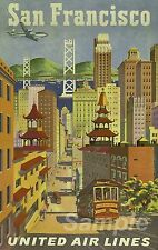 VINTAGE 1950's SAN FRANCISCO UNITED AIR LINES TRAVEL A4 POSTER PRINT
