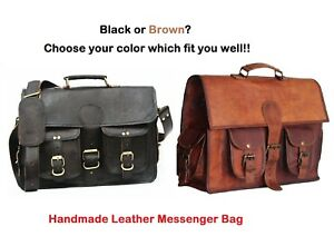 2616331c3f7f Men s Genuine Black Leather Handbag Briefcase Laptop Shoulder Bag ...