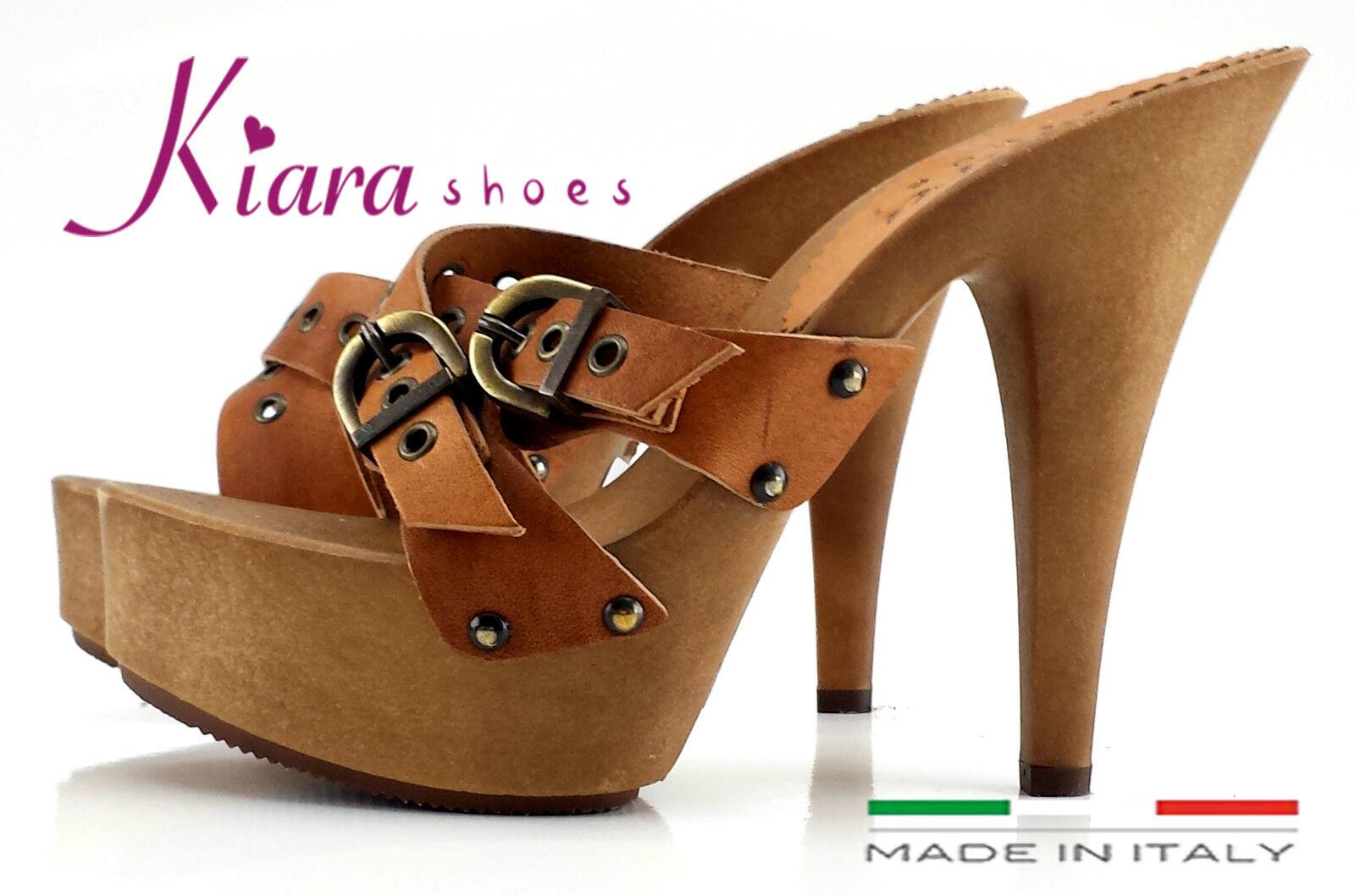 Zoccoli CUOIO- HOLZSCHUHE- Schuhe Made in  dal 35 al 42 - Tacco 13-K9330