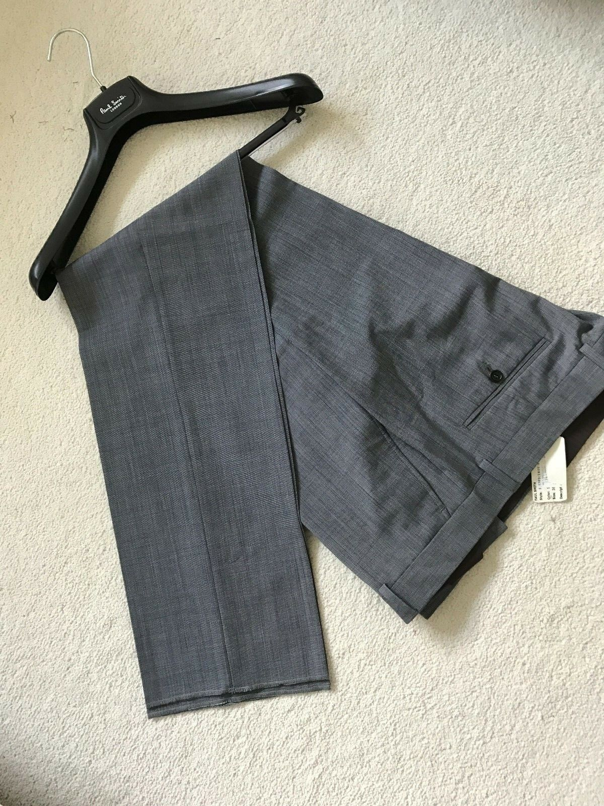 Paul Smith Men Grey Trousers -  100% Wool - 38R  - Made in Portugal