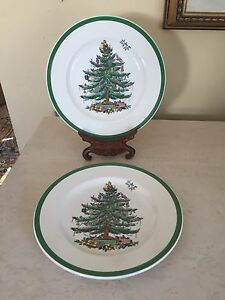 Spode Christmas Plates.Details About Spode Christmas Tree Salad Dessert Plates Set Of 2 Made In England 7 75