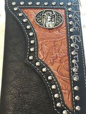 BLACK DEER DOE LEATHER LONGHORN COWBOY STUDS Mens Bifold Long Wallet Western JRB