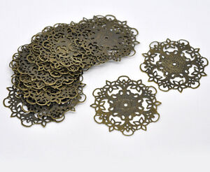 Pop 20 Bronze Tone Filigree Flower Wraps Connectors 55mm