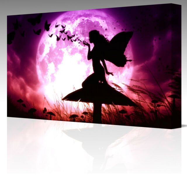 LARGE A3 FAIRY BLOWING BUTTERFLIES PURPLE MOON Canvas Wall Art Picture