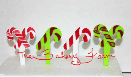 24 CANDY CANE CHRISTMAS HOLIDAY  CUPCAKE PICKS  BAKERY CAKE PARTY DECORATION