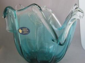 Genuine-Hand-Made-Art-Glass-Bowl-Mint-Green-Italy-White-Crystal-Murano-No-117
