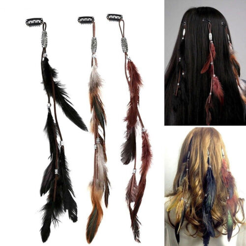 Women Feather Headband Headdress Tribal Hair Rope Headpieces Hippie Party
