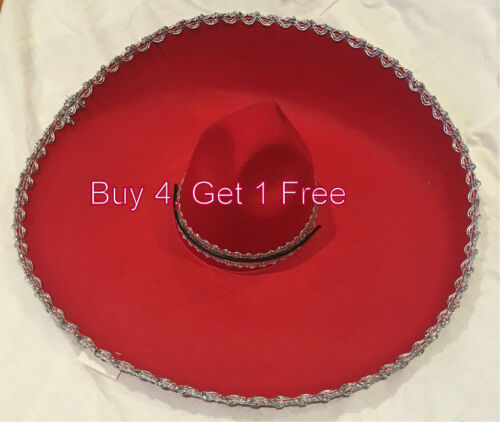 Adult Mens Womens Mexican Costume Sombrero Hat Red W Silver Trim Party Dress