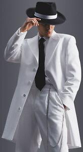 white peak zoot suit tuxedo long duster frock gangster prom coat