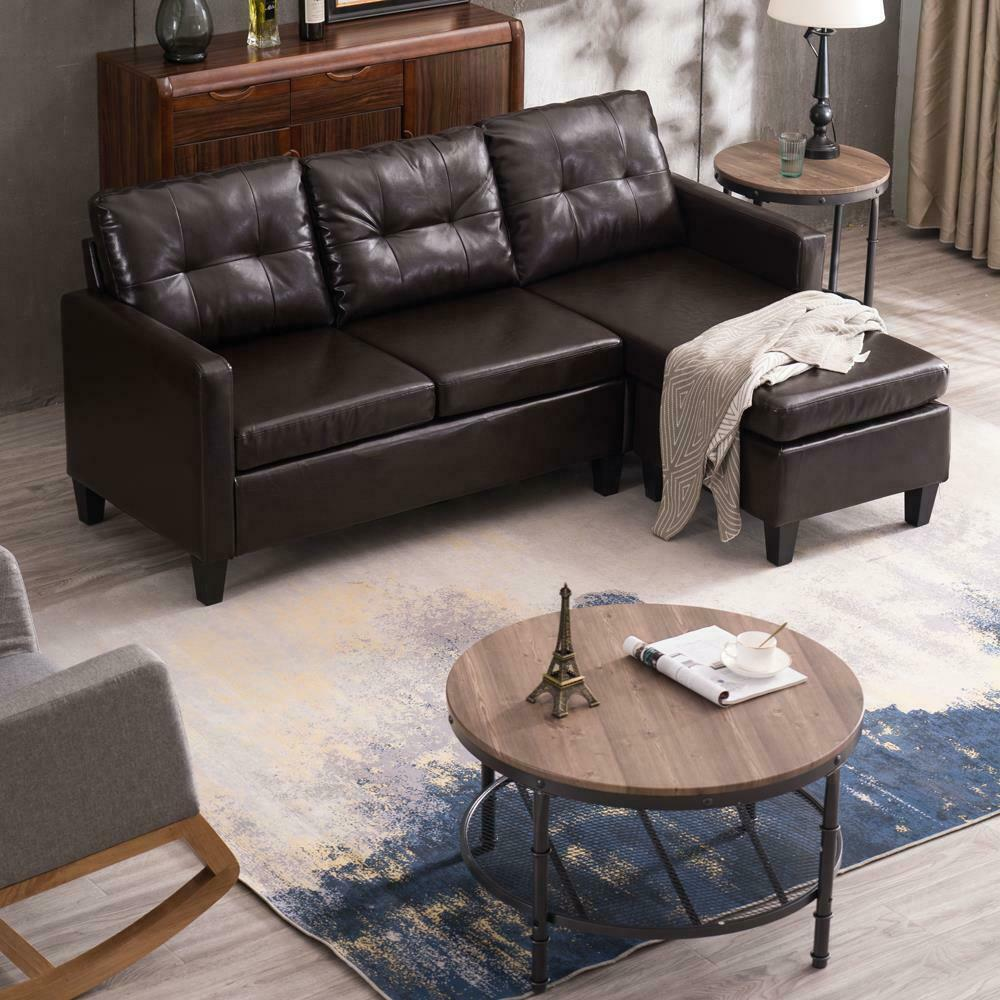 Hot Sectional Sofa Set PU Leather L-shaped Chaise Couch for Living Room Brown