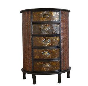 Image Is Loading Chinese 5 Drawer Dark Wood Storage Unit Cabinet