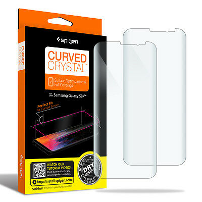 For Galaxy S8/S8 Plus Spigen [Curved Crystal] Film Screen Protector [2PK] |  eBay