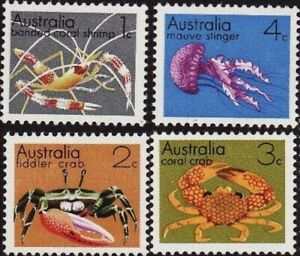 Australia-1973-MNH-Marine-Animal-Stamps-Set-of-4-Second-Series-variety-Issues