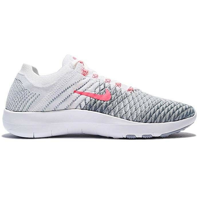 NIKE Free TR Flyknit 2 Womens Running Shoes-White/Hyper Punch Wolf Grey/size 11