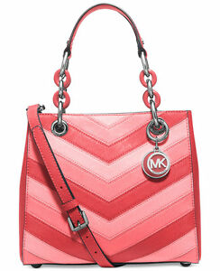 Michael-Michael-Kors-Cynthia-small-North-South-Satchel-coral-MSRP-348