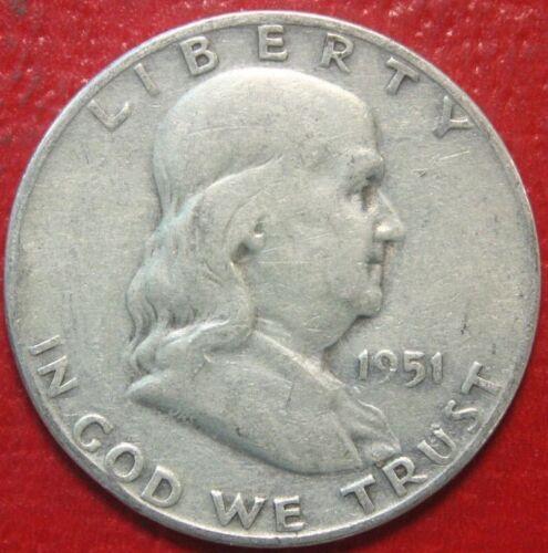 Circulated 90/% Silver US Coin 1951-S Franklin Half Dollar
